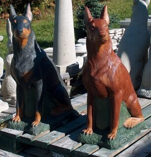 Large Doberman Concrete Statue